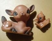 Vintage DEER, 1 Mama, 2 Babies... Celluloid Deer Vintage Plastic Fawns