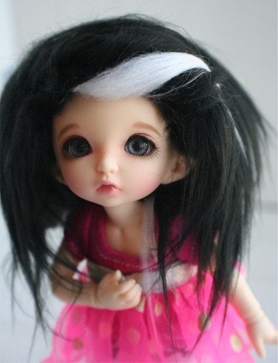 doll wig BJD wig Dollfie wig LATI yellow/Pukifee/monster high Black with white streaks fake fur wig monstrodesigns