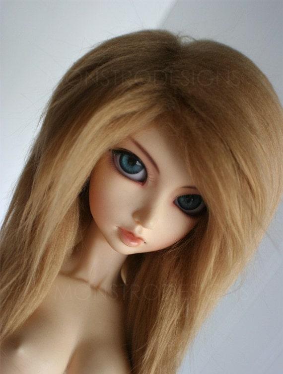 bjd wig Sd long in front  golden blonde wig monstrodesign