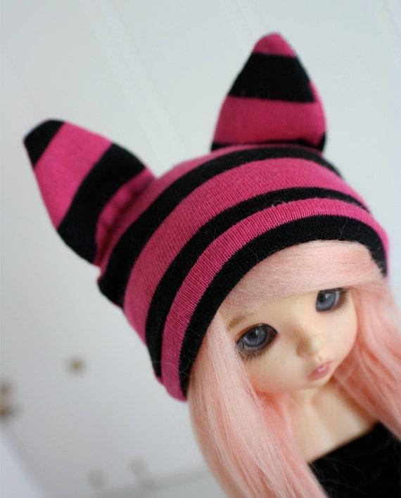 Lati Yellow/Pukifee  sized pink and black stripe CAT ear beanie