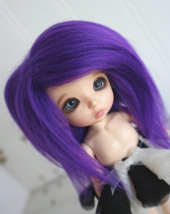 doll wig BJD wig Dollfie wig Lati Yellow/Pukifee/monster high sized fake fur DARK PURPLE wig  monstrodesigns