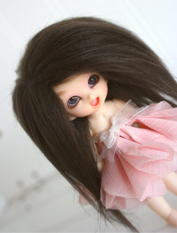 bjd wig puki sized dark brown fake fur wig monstrodesigns