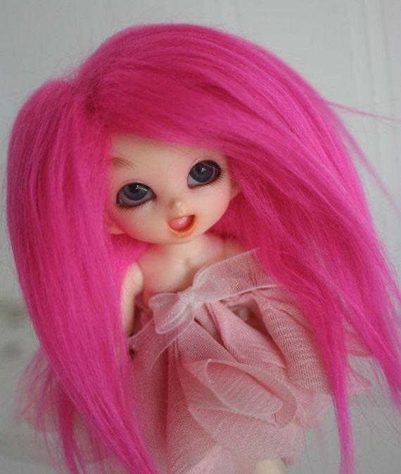 bjd wig puki sized hot pink fake fur wig monstrodesigns