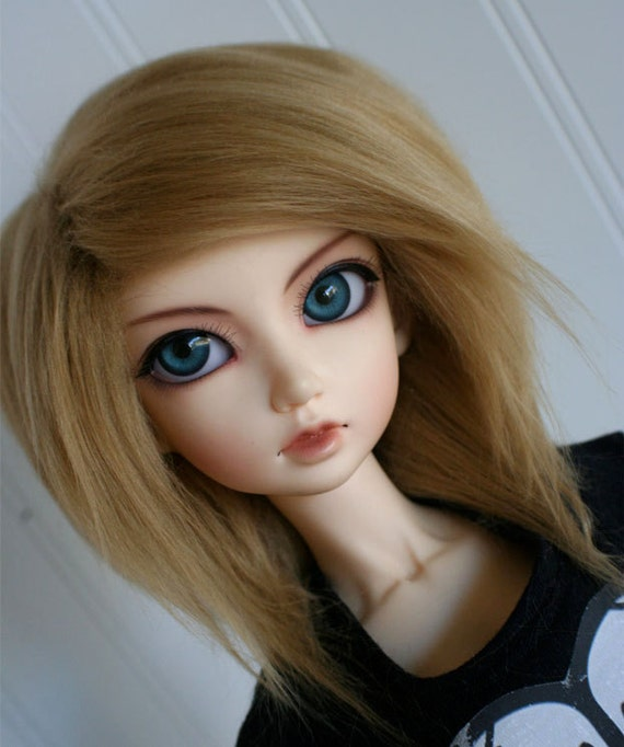 bjd wig sd golden blonde long in back fake fur wig monstrodesign