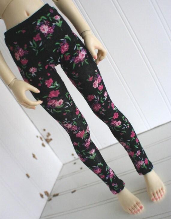 BJD/Dollfie MSD sized Black Flower Leggings