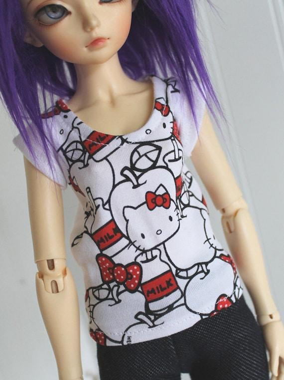BJD / Dollfie  MSD sized Red Hello Kitty shirt