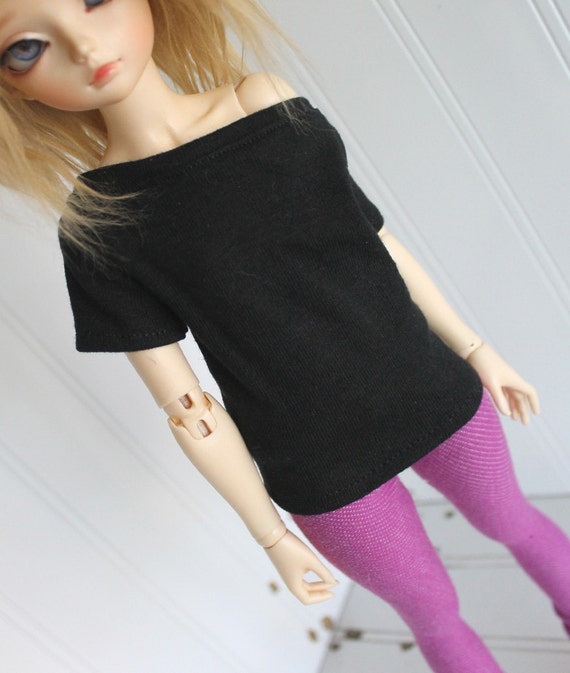 BJD / Dollfie  MSD sized Black off shoulder SHORT sleeve shirt