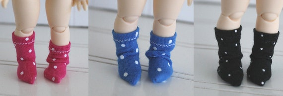 BJD / Dollfie LATI Yellow/pukifee/monster high/pullip sized POLKA dot sock set