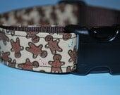 Christmas Dog Collar - Gingerbread Man - Medium or Large