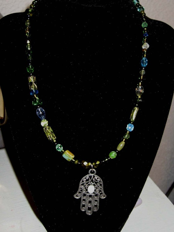 Green Glass Bead Necklace with a  Hand of Fatima  Amulet