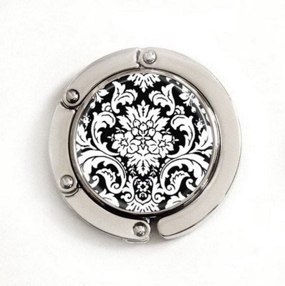 Purse Hook - Black and White Floral Damask