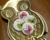 Vintage Silk Fabric Covered Buttons Pink and Green Butterflies 1 inch