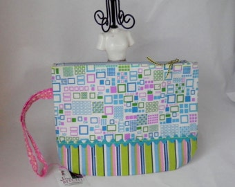 Clearance Sale Squares and Stripes Wristlet with Teal Rick Rack Trim