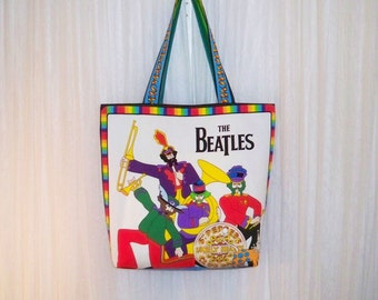 The Beatles Fab Four Tote Bag Purse Shopper Sgt. Peppers Yellow Submarine Custom Order Treasury Featured
