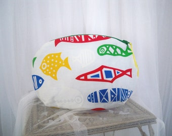 Kitschy Swedish Fish Vintage Print Oval Clutch Purse Accessory Cosmetic