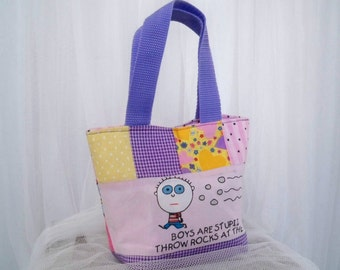 Boys Are From Jupiter Spaceship Pink and Purple Mini Tote Girls Purse