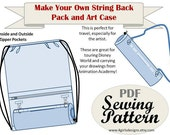 INSTANT DOWNLOAD Sewing Pattern: Make Your Own String Back Pack and Travel Art Case -Great for Travel and Theme Parks
