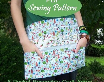 Instant Download: NEW 8 Pocket Reversible Vendor Apron eBook Pattern Tutorial-Great for Craft Shows, Markets, Yard Sale