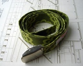 Green flower fabric belt - one size