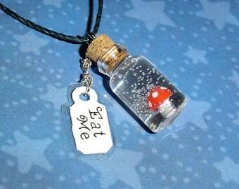 Alice in Wonderland - Eat Me Mushroom - Bottle Charm Necklace