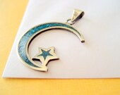 Taxco Sterling Moon and Star Pendant/Charm