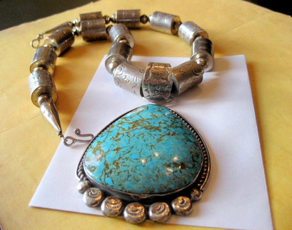 SALE.....Huge Najavo Turquoise Necklace with Stamped Sterling Beads