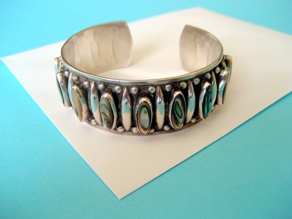 SALE...Vintage Sterling and Abalone Cuff Bracelet