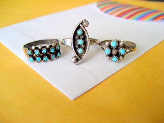 SALE.....Set of Three Zuni Petit Point and Sterling Rings