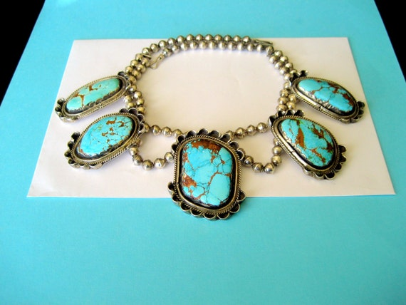 Bisbee Turquoise and Sterling Navajo Bench Bead Necklace