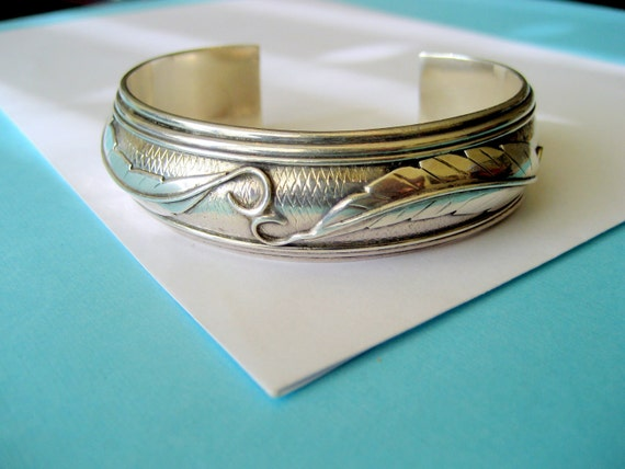 SALE...Navajo Double Feather Sterling Cuff