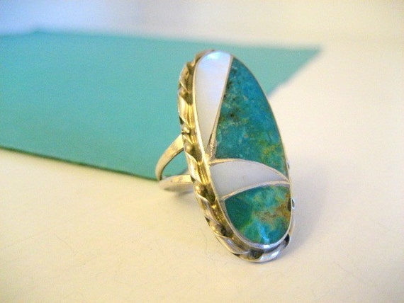 SALE......Sterling Signed N. LEE Turquoise MOP Ring