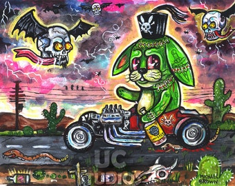 Green Frankenstein Bunny Rat Fink Hot Rod PRINT 151 from Painting by Michael Brown/UC Studios