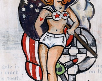 Patriotic Tattoo Sailor Babe Pinup UC Studios PRINT 199 from Painting by Michael Brown