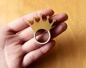 Wooden Ring Golden Crown