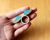 Wooden Ring - Blue Gold Wings