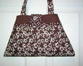 Sale 50% off Brown Floral Tote Triangle Medium - Small