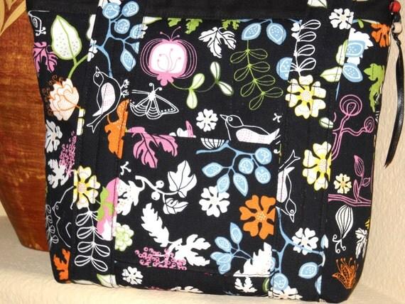 Black Zippered Purse Handbag Tote Ikea Canvas Fabric