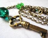 SALE green skeleton key necklace