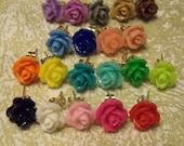 Rosebud post earrings - 10 pair - mixed colors at random, no duplicates
