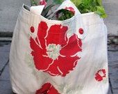 Fairgrounds MarketBag - Plastic Bag Size - Poppies with Red Vintage Buttons