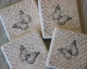 Ceramic Tile Coasters - Butterfly - Set of 4