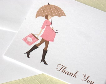 Maternity Note Cards - Mod Baby Shower Thank You Cards for Baby Girl  - Set of 8