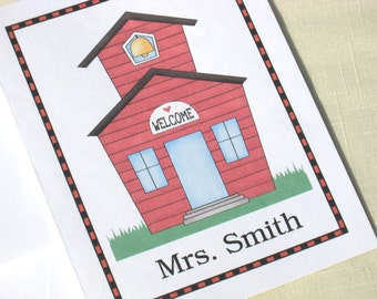 Personalized Teacher Note Cards  - Personalized Teacher Greeting Cards  - Set of 8 School House Note Cards