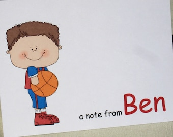 Basketball Boy Note Cards - Pesonalized Note Cards  - Set of 8