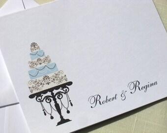 Elegant Wedding Thank You Cards -  Personalized Wedding Cake Cards  -  Set of 8 Aqua Blue and Dark Chocolate Brown