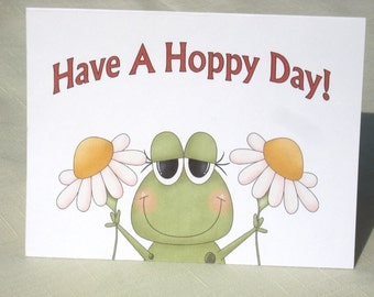 Hoppy Frog Note Cards - Frog Greeting Cards - Green and Red - Set of 8
