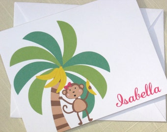 Girl Monkey Note Cards - Personalized Cards for Girl  - Set of 8 Monkey Cards