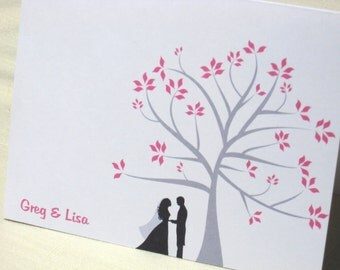 Wedding Thank You Cards - Set of 25 Custom Note Cards - Choose Color and Couple