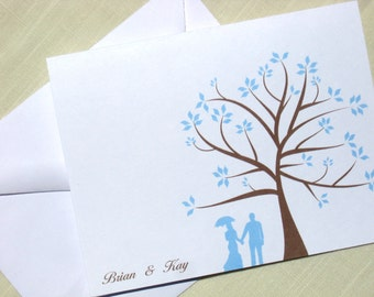 Custom Note Cards  - Set of 25 Wedding Thank You Cards - Choose Color and Couple