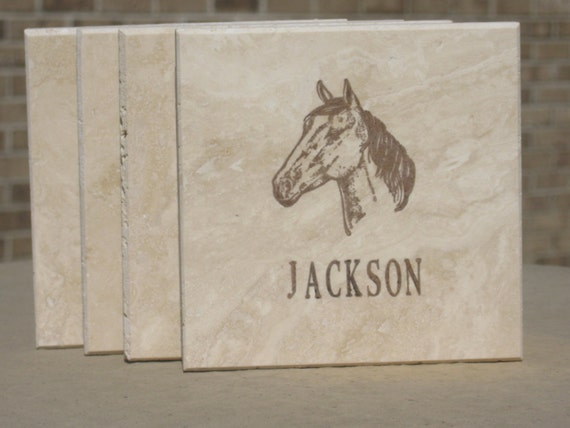 Personalized Coasters - Horse Coasters - Set of 4 Tile Coasters - Hand Stamped
